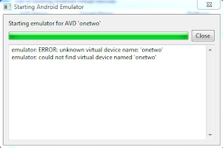 error when running android emulator in windows 7