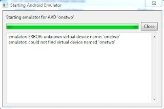 error when running android emulator in windows 7