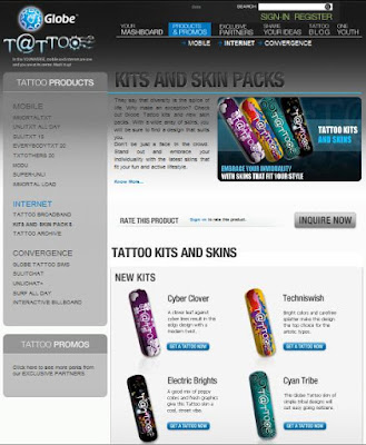 A screenshot of the Globe Tattoo Broadband New Skins' page
