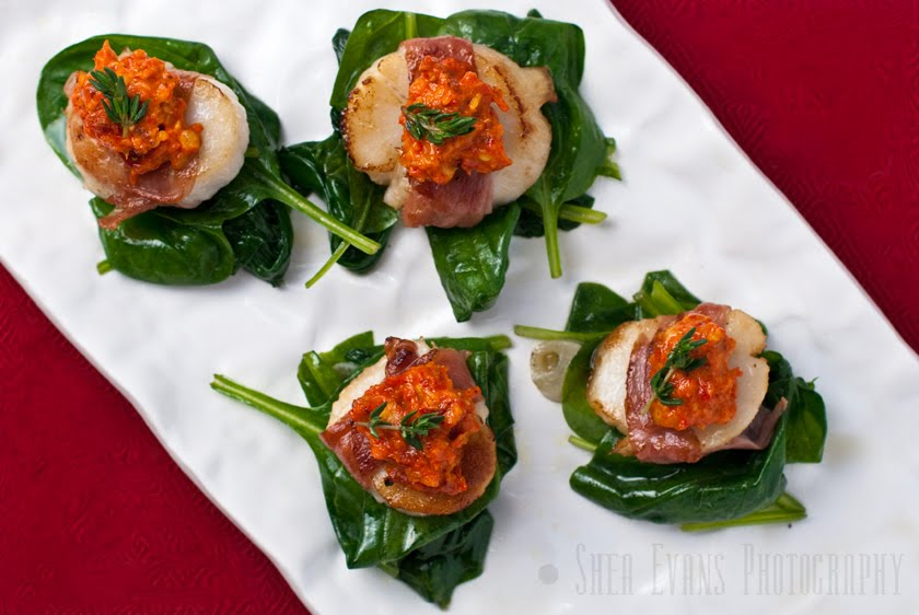 Prosciutto-Wrapped Scallops with Romesco Sauce and Wilted Spinach ...
