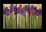 """Field of Iris Triptych 24""""x 36"""""""