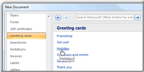 Latest tech news and tips how to make greeting cards with ms word 2007 from the list under templates click on greeting cards you can choose the option you want from under the greeting cards section m4hsunfo