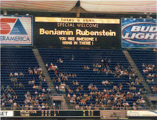 Minnesota Twins Metrodome jumbo screen welcoming Benjamin Rubenstein