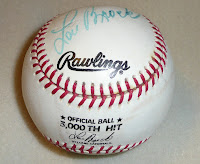 Lou Brock's 3000th hit autographed baseball