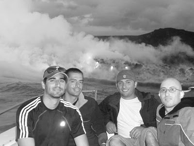 Benjamin Rubenstein with brother and friends at Kilauea Volcano