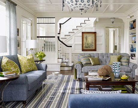 Blue And Green Family Room