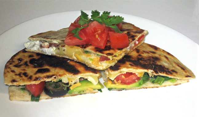 ... Quesadillas with Avocado, Red Pepper, Olives, Mushrooms, & Jalepeño