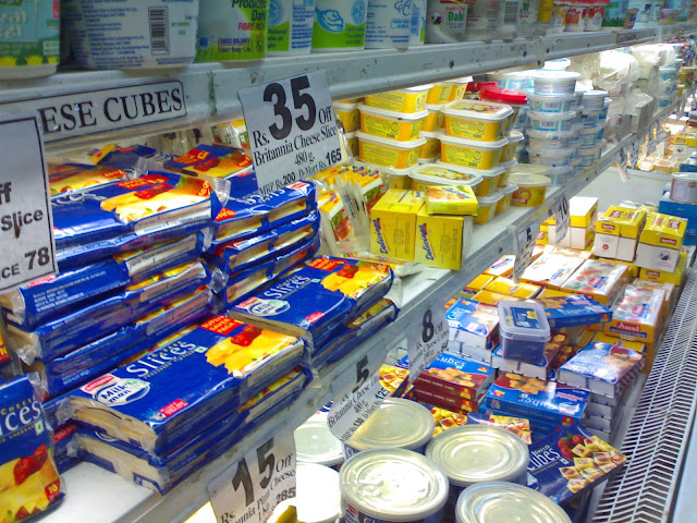 close-up of freezer shelf in Indian supermarket