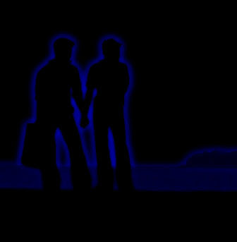 gay couple neon effect