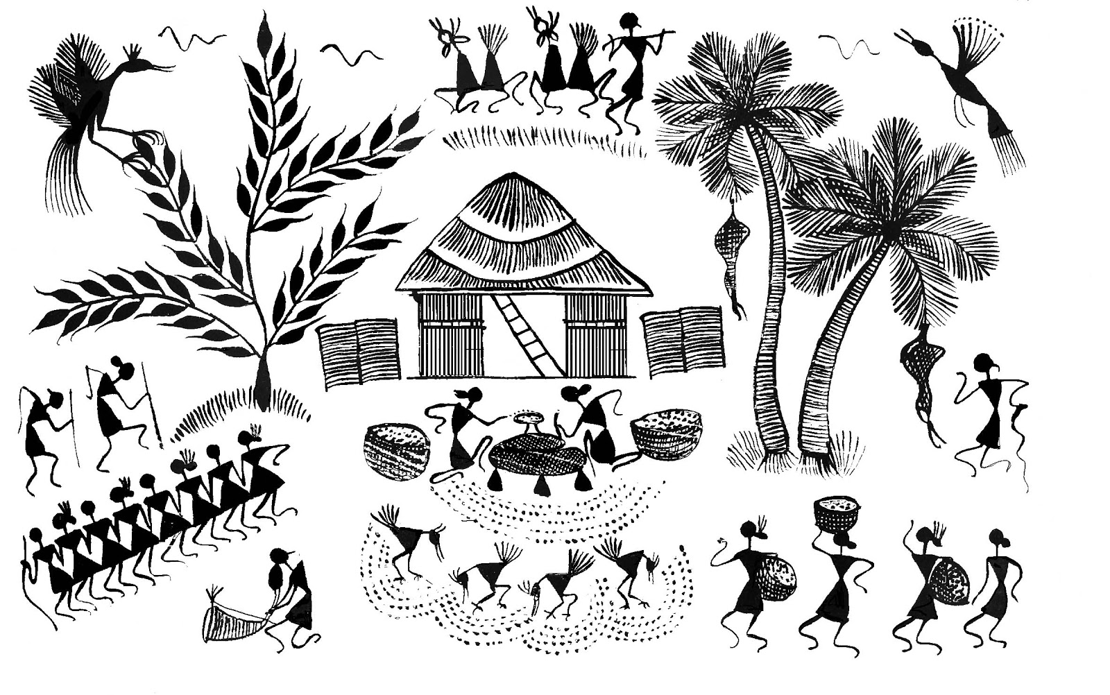Stock Pictures: Warli Art - Sketches and Drawings and Designs