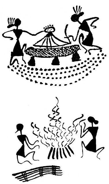 warli women with baby and fire