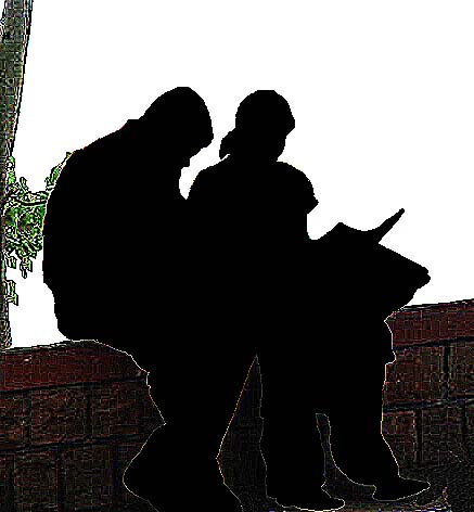 couple silhouette part illustration