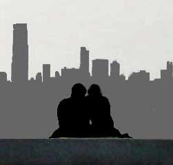 couple skyscraper silhouettes