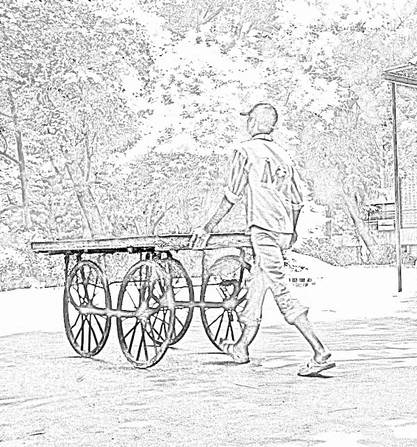 man pushing handcart sketch