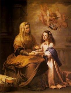 Santa Ana enseña a leer a la Virgen,en lienzo de Bartolomé Esteban Murillo