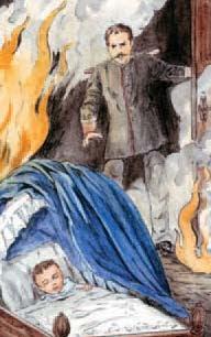 Don Fernando subió al dormitorio con la esperanza de encontrar aún con vida a su heredero