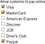 Payment options for invoices