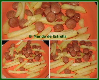 Patatas con salchichas en actifry