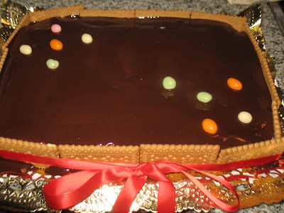 Tarta de galleta y chocolate