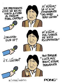 """Raúl acusa a Obama de tentativa de """"desestabiliziación"""" y... Evo+caricatura+sobre+salud+de+Fidel"""