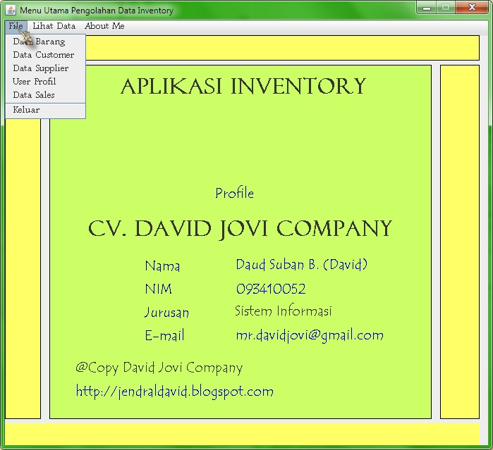 Tutorial Java Netbeans Mysql: SourceCode Sistem Informasi