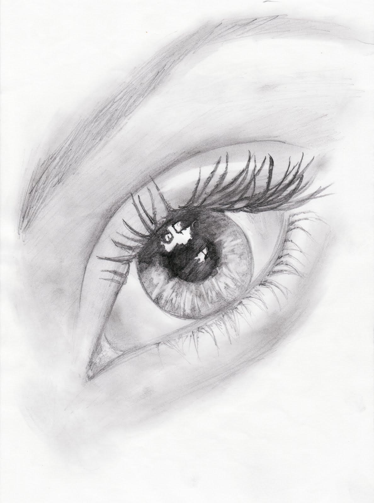 Dibujo de ojo a lápiz grafito. Papel DIN A4. Nayade 2007 © .