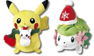 Pikachu Shaymin Xmas Plush Lawson