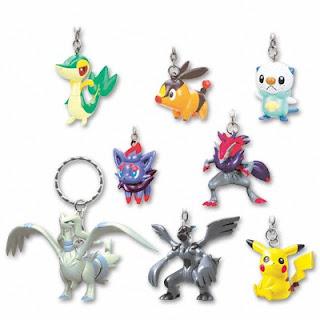 Pokemon BW Figure Key Chain 3 Pikachu Snivy Tepig Oshawott Zorua Zoroark Reshiram Zekrom
