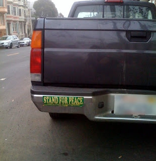 Pickup with Stand for Peace bumper sticker