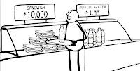 Cartoon character buying $10,000 sandwich