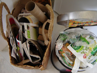 Recycling and waste bin - One week's accumulation