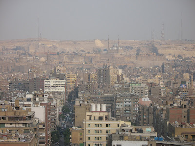 Looking from the Nile east over Mohandiseen towards the Citadel