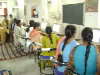Girls in Delhi learning at SEWA Bharat