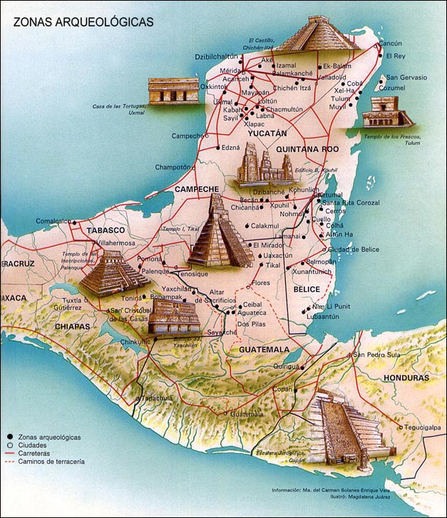 Maya Archaeological Sites Yucatan Map