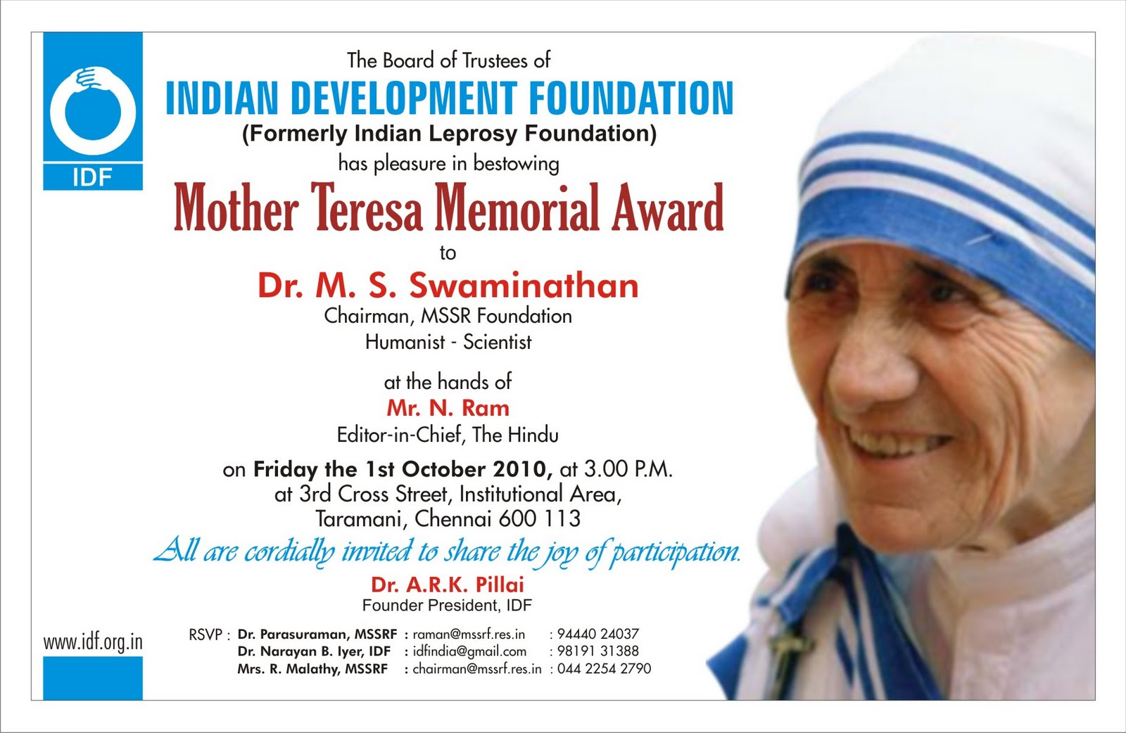 n development foundation 2010 dr m s swaminathan