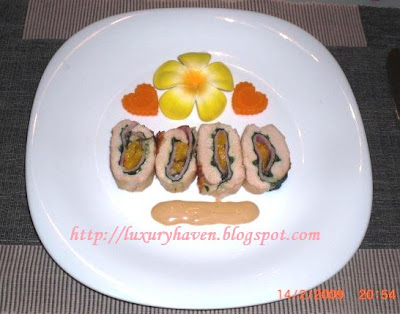 valentine's day peachy chicken roll recipe