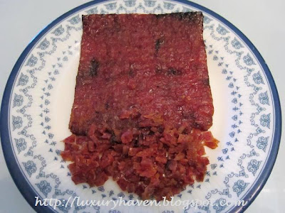 making chinese new year bak kwa appetizers