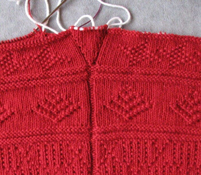 Knitting Socks Picking Up Stitches At Gusset : Stitches of Violet: Red Cotlin Gansey Progress