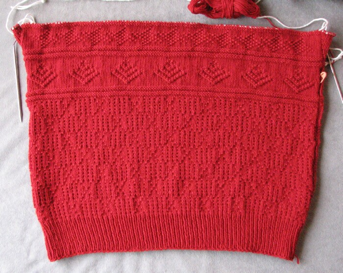 Stitches of Violet: Red Cotlin Gansey Progress