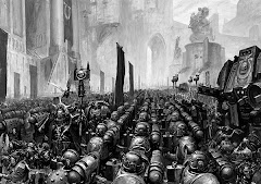 the ultramarine legion receiving the rites of battle on the eve of a campaign