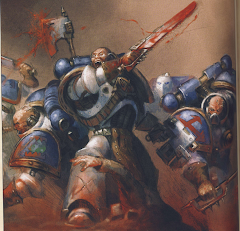 Pre-Heresy World Eaters in their original blue and white regalia