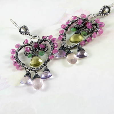 Springtime Imagery Study handmade sterling silver chandelier earrings - imperial topaz, pink sapphire, emerald, rose quartz, amethyst, rhodolite garmet - Available for purchase at Gahooletree on Etsy