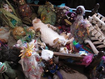 camilla la mer, art dolls, spirit dolls, healing dolls, shaman dolls, process art, bead embroidery, jungian psychology, personal, kittens
