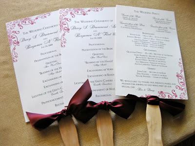 Printed Wedding Programs on Accessories   Just Around The Corner  Wedding Season Custom Orders