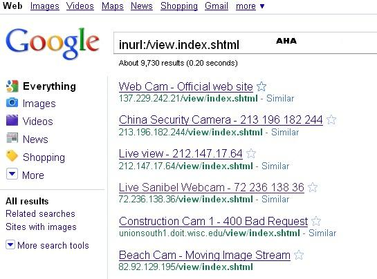 Inurl view index.shtml link for google.
