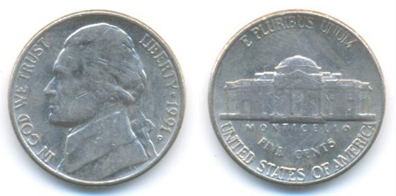 United States Of America 5 Cents Year 1991
