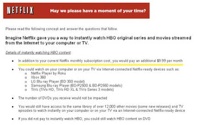 Netflix Survey: Are You Willing to Pay an Additional $20 Per Month for HBO Shows?