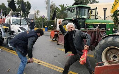 Violence Between Farmers and Riot Police in Greek