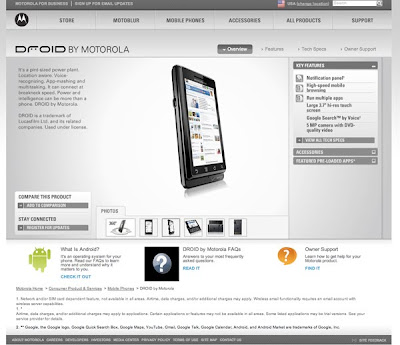 Motorola Droid's Website Released Before Time