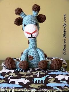 Amigurumi Hakelanleitung Gina Giraffe : Blaue Giraffe Janagurumi